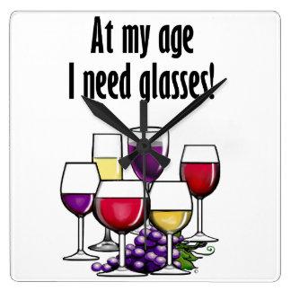 At My Age I Need Glasses! Square Wall Clock