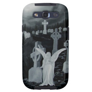 At night on the cemetery - angel with Crow Samsung Galaxy S3 Covers