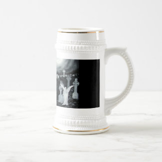 At night on the cemetery - angel with devil 18 oz beer stein