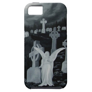 At night on the cemetery - angel with raven iPhone SE/5/5s case