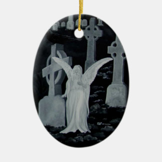 At night on the cemetery - angels ceramic ornament