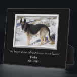 "At Our Side Silver Frame Pet Memorial Template<br><div class=""desc"">A dramatic solid black background is the setting for your pet&#39;s photograph within a pretty silver colored frame. The text is also in silver, with three fields for you to customize. We chose &quot;No longer at our side but always in our hearts&quot; for the tribute for our beloved Tasha, but...</div>"