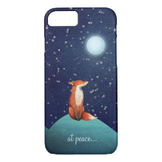 at peace ~ Charming Fox Sitting Under a Full Moon iPhone 8/7 Case