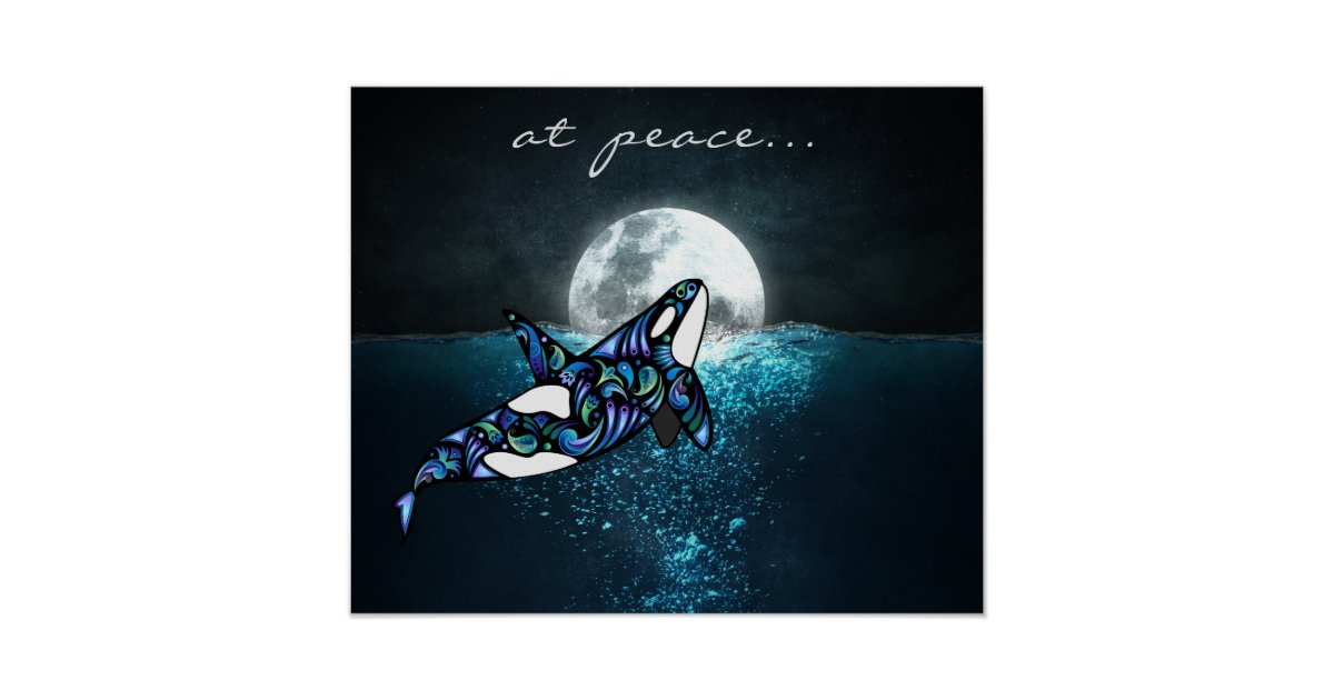 fc11ad3b at peace ~ Full Moon Psychedelic Trippy Orca Whale Poster | Zazzle.com
