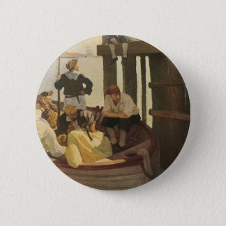 At Queen's Ferry by NC Wyeth, Vintage Pirates Button