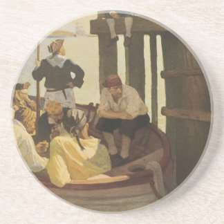 At Queen's Ferry by NC Wyeth, Vintage Pirates Drink Coaster