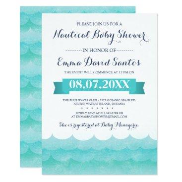 Beach Themed At Sea Nautical Baby Shower Card