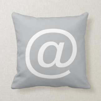 at sign button pillow Gray White