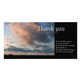 At Sunset - Peaceful Sky -1- Sympathy Thank You Photo Card