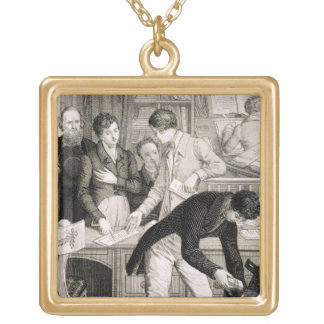 At the Bank, c.1800 (engraving) Gold Plated Necklace