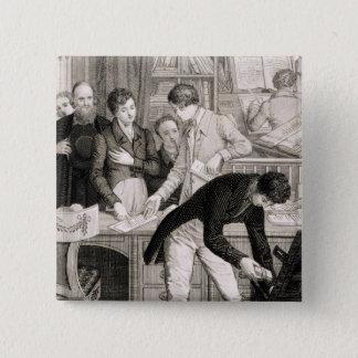 At the Bank, c.1800 (engraving) Pinback Button