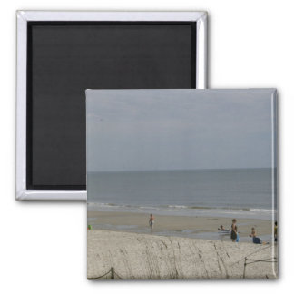 At The Beach 2 Inch Square Magnet