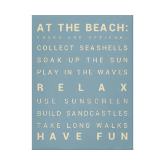 """At the Beach - Beach House Rules - 18"""" x 24"""" Canvas Print"""