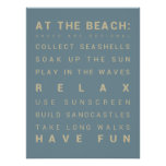 At the Beach - Beach House Rules Print