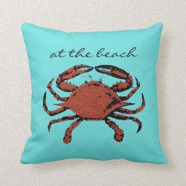Beach Themed At The Beach Nautical Crab Teal Home Throw Pillows