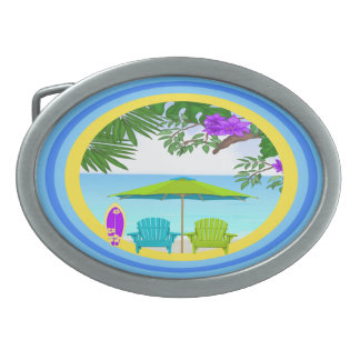 At The Beach Oval Belt Buckle