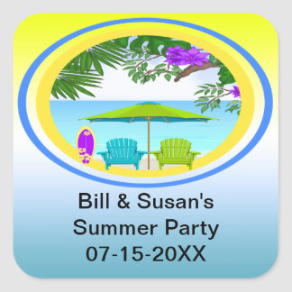 At The Beach Party Favor Stickers