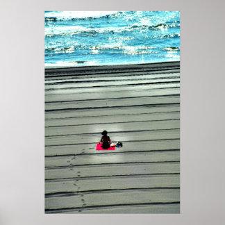 At the beach, Port Saplaya, Spain Poster