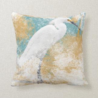 At The Beach Series - Snowy Egret Throw Pillow