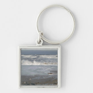 At the Beach Silver-Colored Square Keychain