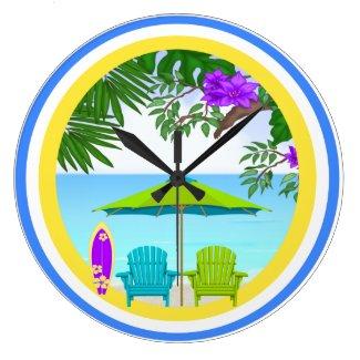 At The Beach Wall Clocks