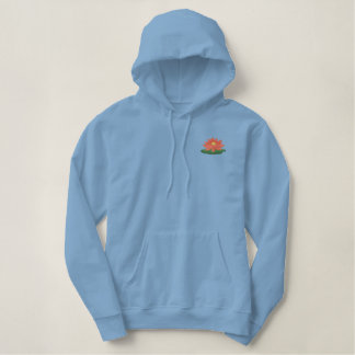 At the Beach - Waterlily Embroidered Hoodie
