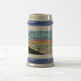 At the beach with Granpa beach sunset painting Beer Stein