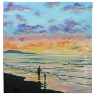 At the beach with Granpa beach sunset painting Cloth Napkin
