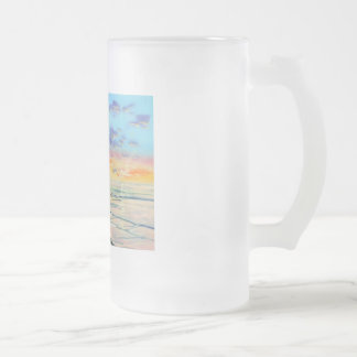At the beach with Granpa beach sunset painting Frosted Glass Beer Mug