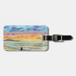 At the beach with Granpa beach sunset painting Luggage Tag