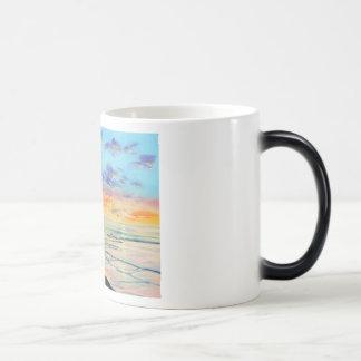At the beach with Granpa beach sunset painting Magic Mug