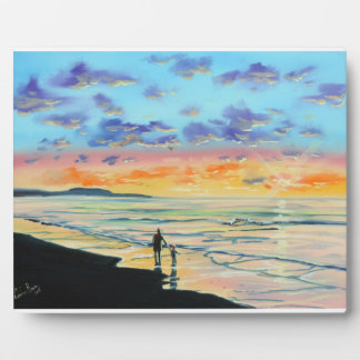 At the beach with Granpa beach sunset painting Plaque