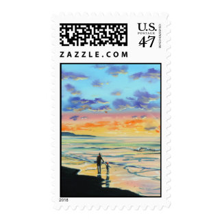 At the beach with Granpa beach sunset painting Postage Stamp