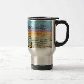At the beach with Granpa beach sunset painting Travel Mug