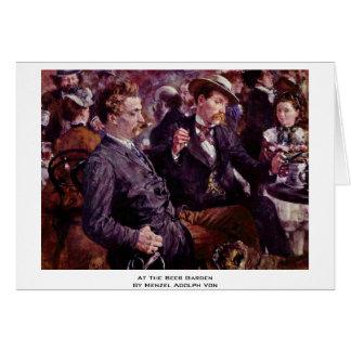 At The Beer Garden By Menzel Adolph Von Greeting Card