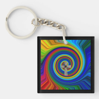 at the beginning of it all the cross 2side key fob Double-Sided square acrylic keychain