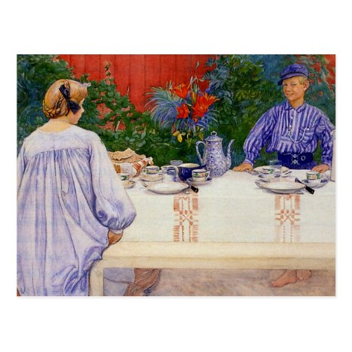 At the Breakfast Table 1910 Postcard