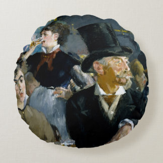 At the Cafe by Edouard Manet Round Pillow