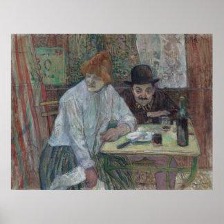 At the Cafe La Mie by Henri de Toulouse-Lautrec Poster
