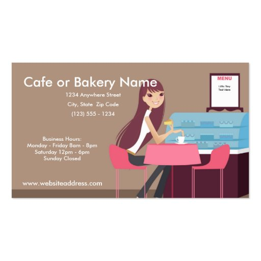At the Cafe/Pastry Shop Business Cards (front side)