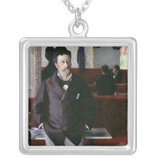 At the Cafe, Rouen, 1880 Square Pendant Necklace