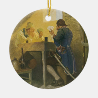 At the Cards in Cluny's Cage by NC Wyeth Ceramic Ornament