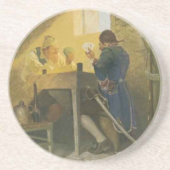 At the Cards in Cluny's Cage by NC Wyeth Drink Coaster