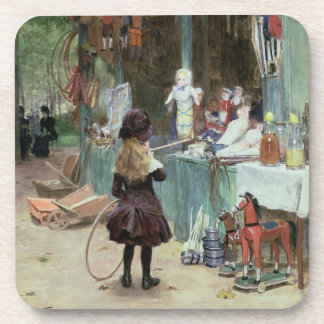 At the Champs-Elysees Gardens c 1897 gouache on Drink Coasters