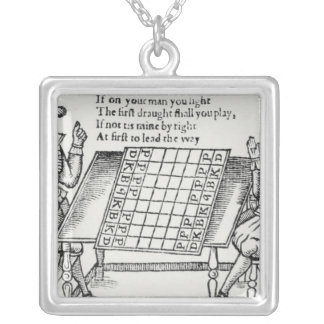 At the Chess Board Square Pendant Necklace