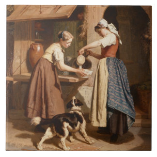 At the Dairy, 1866 (oil on panel) Ceramic Tile