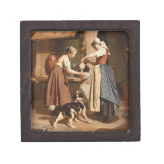 At the Dairy, 1866 (oil on panel) Premium Keepsake Boxes