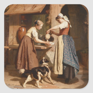 At the Dairy, 1866 (oil on panel) Square Sticker
