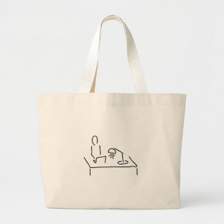 At the desk with laptop notebook large tote bag