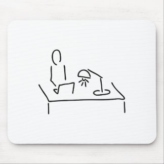 At the desk with laptop notebook mouse pad